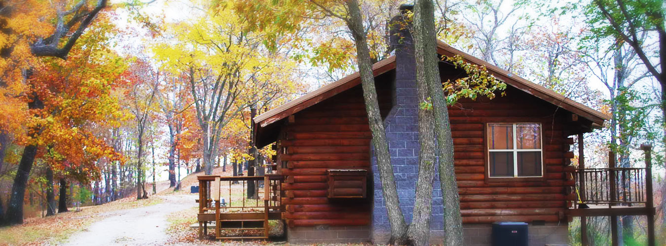 fall cabin view