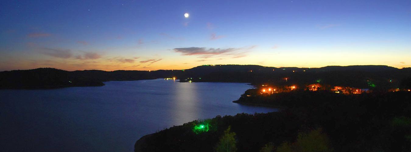 View of Beaver Lake at night
