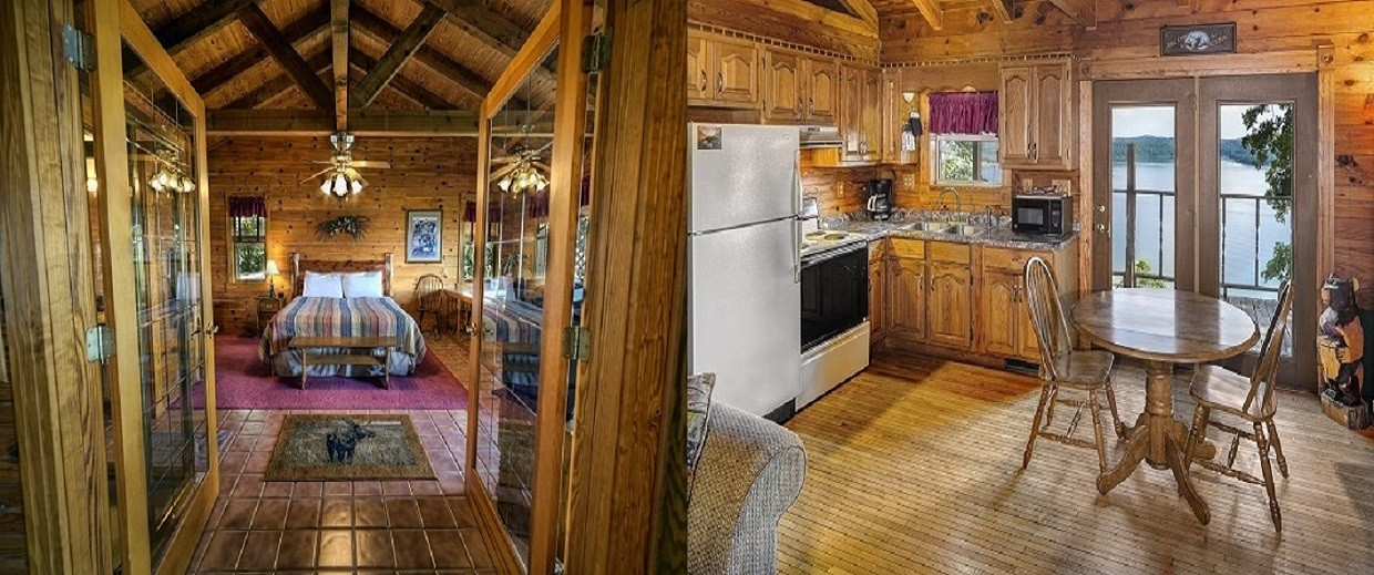 Cabin Bedroom & Kitchen Split Pic