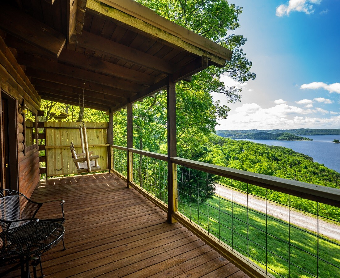 Deck with Porch Swing at Couples Cabin